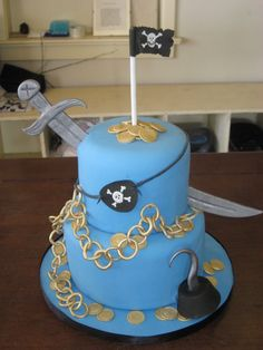 Love the eye patch around this cake as well as the sword stuck in the side... this may be something I'll consider.  Pirate cake!
