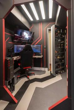 Gamer Room: 59 Super Stylish Photos and Decorating Tips Now – home – Game Room İdeas 2020 Computer Gaming Room, Gaming Room Setup, Gaming Rooms, Video Game Rooms, Teen Game Rooms, Boys Game Room, Small Game Rooms, Video Game Decor, Video Games