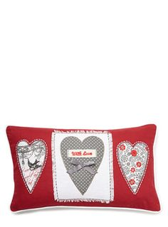 Red love hearts cushion - gifts for her  - Women