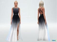 Gradient dress Leila with side cutout - The Sims 4 Catalog Sims 4 Teen, Sims Four, Sims Cc, Star Lord, Sims 4 Dresses, Formal Dresses, Mods Sims, Free Clothes, Clothes For Women