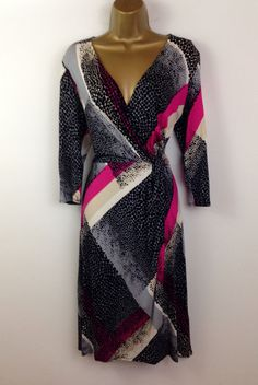 M&S Black Pink Grey Wrap Flare Ladies Evening Dress Party Cruise New UK Size 12