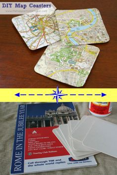 Use Vacation Maps or Maps of Special Locations to create one-of-a-kind DIY coasters. This would be great for a newlywed couple ~ find out where they went on their honeymoon and surprise them with a customized gift.