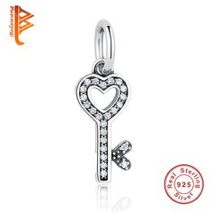Authentic 925 Sterling Silver Symbol Of Trust LOVE Heart Key Pendant Charm fit Original Pandora Bracelets DIY Jewelry Accessory #Affiliate