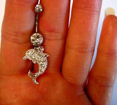 Belly Button Ring Barbell Clear Crystal Silver Tone Dolphin. $16.00, via Etsy.