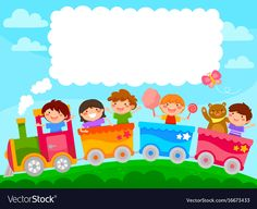 Kids in a train vector image on VectorStock