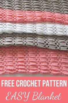 Crochet Baby Blanket Free Pattern, Easy Crochet Blanket, Baby Afghan Crochet, Afghan Crochet Patterns, Baby Afghans, Crochet Blankets, Baby Blankets, Baby Patterns, Basic Crochet Stitches