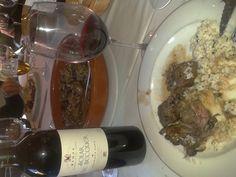 Zorzales, arroz pilaf y un buen reserva Solar de Becquer... gracias a nuestros amigos de Jarisa