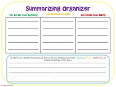 Summarizing Graphic Organizer - This is a graphic organizer the can be used to assist students in creating summaries of fiction text. Just have them write key details from the beginning, middle, and end of the story, then combine the information to create a summary.