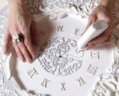 Crafts For Girls Hobbies And Crafts Custom Stencils Craft Ideas Craft Projects Plaster Of Paris Goldwork Diy Plaster Painted Walls Diy Plaster, Plaster Crafts, Clock Art, Diy Clock, Hobbies And Crafts, Diy And Crafts, Arts And Crafts, Deco Baroque, Glue Art