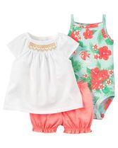 Complete with bright embroidery, bubble shorts and a cute little bodysuit, this soft cotton set is super sweet for warm weather.