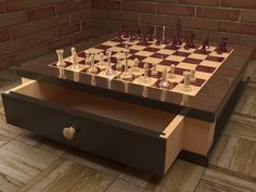 The current design for the purpleheart and maple chess board I'm building for my brother
