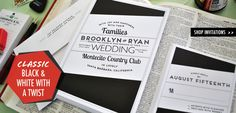 Classic Black and White Wedding Invitations with a Twist // Broadway wedding invitations from Chromatic & Co.