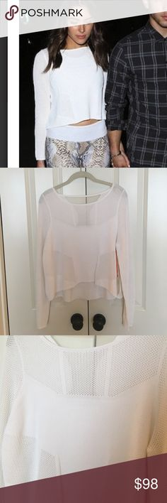 Ramy Brook Dani long sleeve top in cloud size M The cutest white cropped sweater by Ramy Brook size M! New with tags! Ramy Brook Sweaters