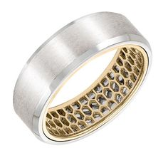 Men's Wedding Band with mesh pattern inside and flat profile with bevel edge in 7mm width. Available in white, yellow and rose gold color combinations. Available in Platinum, 18K and 14K gold.