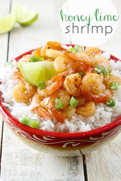 Honey Lime Shrimp Delicious sweet and tangy shrimp that will be on your table in just 30 minutes! Fish Recipes, Seafood Recipes, Cooking Recipes, Healthy Recipes, Appetizer Recipes, Table D Hote, Shrimp Dishes, I Love Food, Healthy Eating