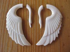 SALE Stunning white swan fake gauges by shayisa on Etsy,