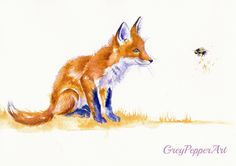 """https://flic.kr/p/wmjgc2   Bee Important   """"Bee Important"""" - Today the government has allowed the use of bee-killing pesticides on UK fields. So this little fox is admiring this most vital pollen-carrier before it becomes as rare as the once common butterfly... I am a Kent artist and enjoy watching my pets and other beasties, and try to capture their antics in paint. Similar Original Watercolours available via ebay as 'greypepper71' ."""
