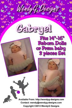 """*** GABRYEL ***      ***KNITTING PATTERN ONLY***     To fit 14-16"""" Reborn or Prem Baby       Pattern contains instructions for the bodysuit (one-sie) with or without attached skirt, headband and slippers"""