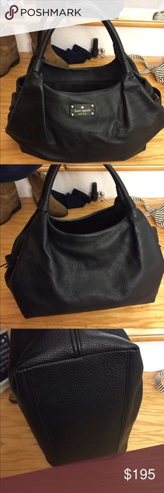 Kate spade genuine cow leather black purse 100% cow leather black Kate spade purse paid $400 for this beauty and I have used it once.. 😩 time to clean out my closet and pay off some bills.. my loss and your gain!! Reasonable offers will be considered!! Happy shopping!! kate spade Bags Shoulder Bags