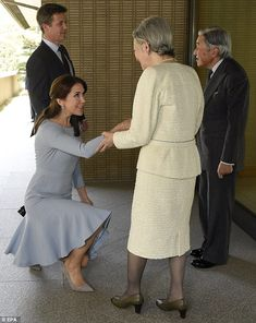 Formal greeting: Earlier in the day the royals met with the Emperor of Japan Akihito and E...