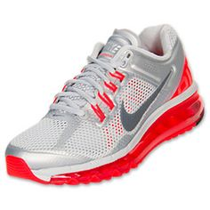 Women's Nike Air Max+ 2013 Running Shoes | FinishLine.com | Pure Platinum/Total Crimson/Wolf Grey