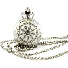 Fashion Silver Flower Quartz Pocket Watch Small Size Chain P205