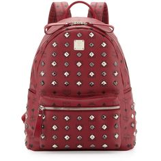 Stark Studded Medium Backpack, Tibetan Red - MCM ($810) ❤ liked on Polyvore featuring bags, backpacks, bags and purses, bolsas, mcm, rucksack bags, mcm bags, studded backpack, daypack bag and day pack backpack