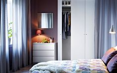 PAX white wardrobe with BALLSTAD white doors and MALM white chest of drawers