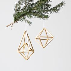 natural himmeli ornaments - set of 2 - hanging mobile - modern mobile - sculpture - geometric - natural straw - finnish design