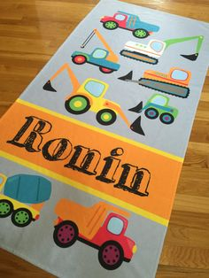 Personalized Beach Towel, Construction Trucks, Monogram Towel, Camp Towel,  Swim Towel, Pool Towel, Birthday Gift, Back to School, Nap Mat by TheBeeBoutiqueNC on Etsy