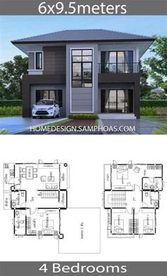 2 Storey House Design, Bungalow House Design, House Front Design, House Plans Mansion, My House Plans, Small House Plans, Home Design Floor Plans, Home Building Design, Modern Small House Design