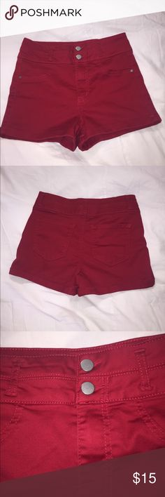High Waisted, Double Button, Red Shorts High waisted red shorty shorts that will complete or start your colored shorts collection! This pair of shorts has 2 buttons and are high waisted. They run true to their size(5). Super cute, no problems with them. They are from a brand called love fire. Please consider them ! Love Fire Shorts Jean Shorts