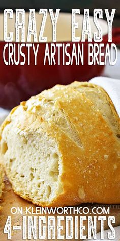 Mar 2020 - Incredibly Easy Crusty Artisan Bread is a simple, homemade dutch oven bread recipe that is absolutely foolproof. Perfect alongside every meal. Pair with a delicious cinnamon spreadable honey & it's pure heaven. Artisan Bread Recipes, Bread Machine Recipes, Easy Bread Recipes, Oven Recipes, Baking Recipes, Kale Recipes, Easy Homemade Bread, Shrimp Recipes, Gourmet