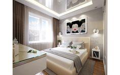 Дизайн интерьера квартиры, студия Твой Дизайнер Contemporary interior of small apartment in Moscow Small bedroom design