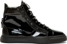 Giuseppe Zanotti - Black Patent Leather High-Top Sneakers