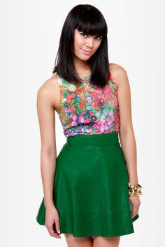 Green vegan leather skirt