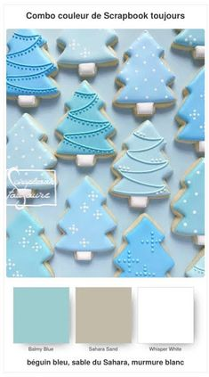 #16 Combo COULEUR de Scrapbook toujours Scrapbook, Cookie Decorating, Christmas Cookies, Blue And White, Baking, Color, Xmas Cookies, Christmas Crack, Christmas Biscuits