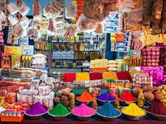 The street markets in New Delhi sell an exotic and eye-catching array of nuts, fruits, spices, candies, and more.