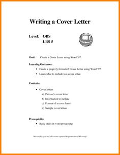 how a cover letter should look