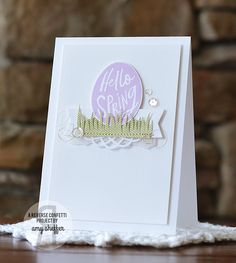 Card by Amy Sheffer. Reverse Confetti stamp set: More Than Jellybeans. Confetti Cuts: More Than Jellybeans and Tag Me. Easter card. Spring card. Easter eggs.
