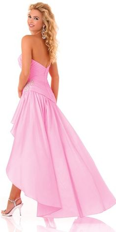 High-low prom dress in pink, by Mystique