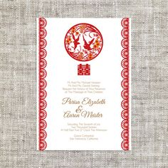 Diy printableeditable chinese wedding invitation card template diy printable editable chinese wedding invitation card template instant downloadred lace paper cut birds flowers double happiness stopboris Images