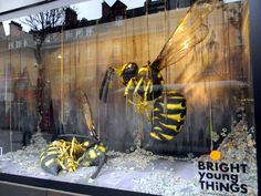 Giant wasps young things window display selfridges Oxford Street London 9th February 2011