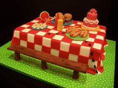 LOVE LOVE LOVE this cake! picnic table cute deviled eggs!