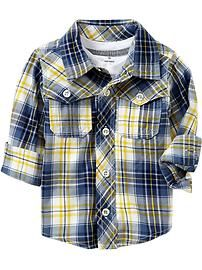 Western-Pocket Plaid Shirts for Baby