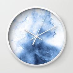 Watercolour Texture Indigo Wall Clock by benjaminblack Unusual Clocks, Cool Clocks, Diy Clock, Clock Decor, Wall Clock Design, Wall Art Designs, Indigo Walls, Driftwood Candle Holders, Coral Walls