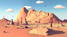 Low Poly Mountain Landscape II on Behance