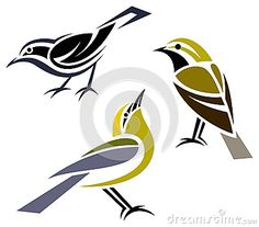 Illustration about Stylized birds - Stylized birds - Black-throated Green Warbler, Black-and-White Warbler and Blue-winged Warbler. Illustration of nature, blackthroated, simplistic - 30346119 Bird Stencil, Stencil Art, Damask Stencil, Stencil Patterns, Stencil Designs, Fabric Painting, Fabric Art, Faux Painting, Bird Silhouette Art