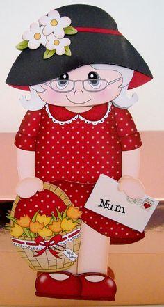 3D On The Shelf Card Kit - Gossip Galz Mum Francie's Flowers