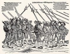 Artist: Schoen, Erhard, Title: Heereszug der Landsknechte, Blatt 6, Fünf Landsknechte mit Helmbarte, fünf mit Schwertern, Date: 1st half of the 16th century